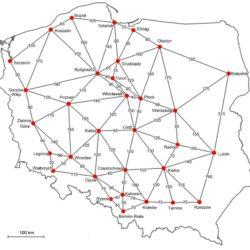 Odległości między sąsiednimi głównymi ośrodkami miejskimi / Źródło: Sieć ośrodków regionalnych w Koncepcji przestrzennego zagospodarowania kraju. Próba uporządkowania według czynników wielkości i odległości, Przegląd Geograficzny, 86, 4, 2014
