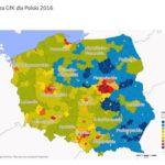 Mapa 1. Indeks siły nabywczej według powiatów, 2016