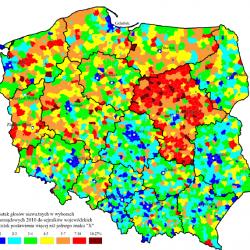 Tradycja oszustwa w województwie mazowieckim nie jest nowa. W wyborach do sejmiku zanotowano wyraźnie wyższy odsetek głosów nieważnych, co nasuwa podejrzenie o ich fałszowanie. Źródło: Śleszyński 2015